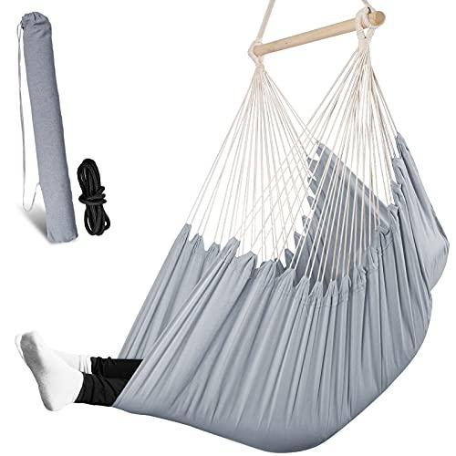 Chihee Columpios XL Silla de Hamaca De Gran tamaño Silla Colgante Relajarse Balancearse Asiento Colgante Tejido de algodón por Comodidad Durabilidad Fácil de configurarJardín Interior al Aire Libre
