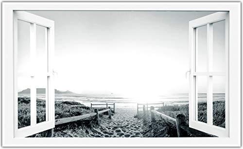 Könighaus Fern Infrarotheizung – Bildheizung in HD Qualität mit TÜV/GS - 200+ Bilder -450Watt - Patentiert -Weißer_Rahmen(227. Fenster Offen) Black Edition