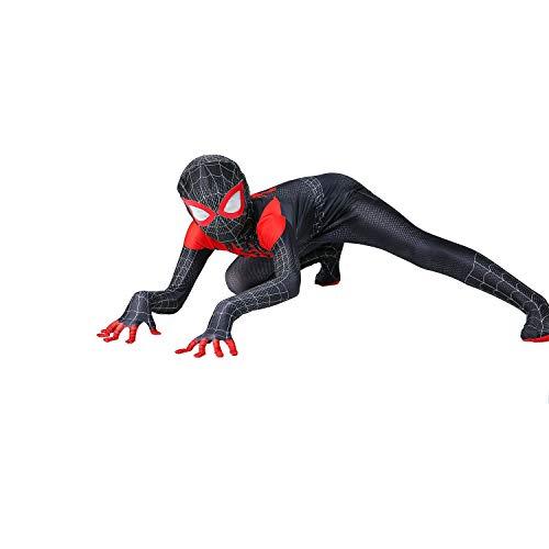 Superhero Kids Bodysuit Costumes Lycra Spandex Halloween Cosplay Costumes (Miles Morales, 120) Black
