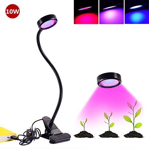 LED Pflanzenlampe,Florally 10W Blau&Rot Licht Einstellbare Wachsen Lichter, Klemmleuchten mit 360 Grad einstellbar Flexible Gooseneck