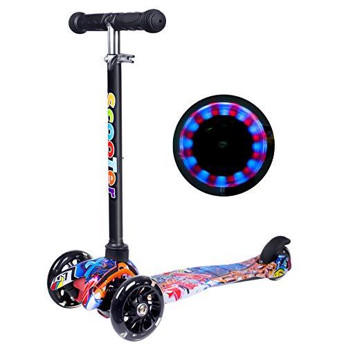 Yuanj Scooter Kinder Roller, Dreiradscooter für Mädchen und Jungen, Höhenverstellbarer und Abnehmbarer Kinderscooter, mit PU Räder/Graffiti Kinder Scooter (Blau + schwarz, 2-8 Years Old)