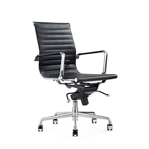 Vivol Design-Schreibtisch-Stuhl - Valencia Schwarz- Bürostuhl Ergonomisch Leder - Bürostuhl 120 kg - Drehstuhl mit Rollen & Armlehnen - Buro Stuhle