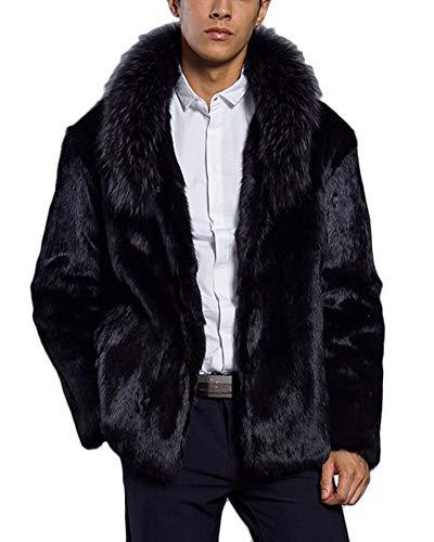 DianShaoA Herren Mantel Winter Kurzer Kunstpelz Revers Felljacke Pelzmantel Faux Fur Parka Jacke Trench Coat Schwarz M