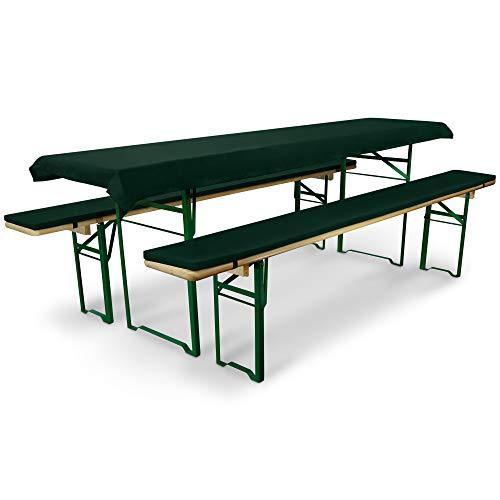Beautissu Comfort XS - Set de 3 elegantísimas Fundas Mantel Mesa de cervecería/Picnic 70 cm y Bancos Acolchados - Verde Oscuro