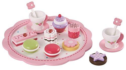 lelin Set para postres de madera de juguete, para la vorschule, con flores, tartas, Macarons, para rollo Juegos