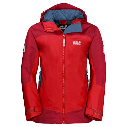 Jack Wolfskin Kinder AKKA Jacket Atmungsaktiv Wasserdicht Winddicht Reflektoren Outdoor Wetterschutz, Regenjacke Wetterschutzjacke, Peak red, 164 EU