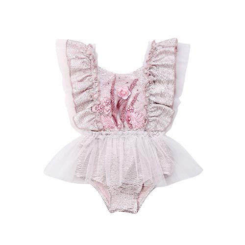 Wide.ling Baby Meisjes Ruches Kant Bloemen Romper Bodysuit Tutu Jurk Sunsuit Backless Jumpsuit Zomer Outfits