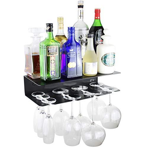 etterr - Mobile bar, mensola da parete per bicchieri e bottiglie, prodotta in Spagna Minimalista Nero