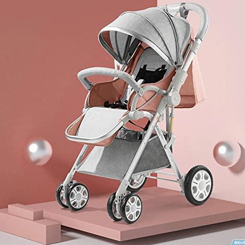 Kinderwagen mit verstellbarer Rückenlehne, waschbarer, faltbarer Kinderwagen mit Dämpfungsrädern, Baby-Trolleys...