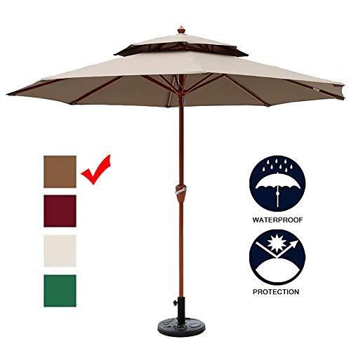 Sombrillas Parasol Jardin 9ft / 2.7m Grano de Madera Patio del Paraguas del Parasol, Grande Al Aire Libre para Jardín/Playa/Piscina/Terraza, 8 Costillas Resistentes (Color : Khaki)