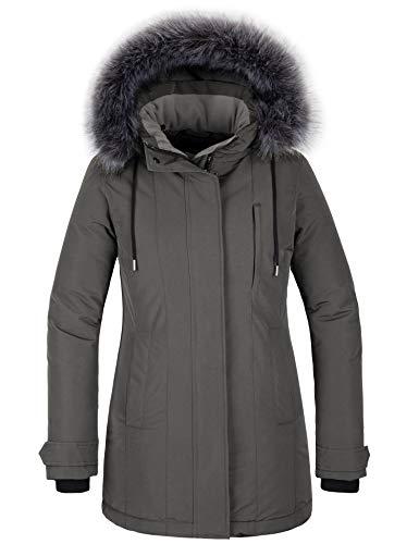 CHIN·MOON Damski zimowy płaszcz wiatroszczelny kurtka buforowa pikowana kurtka długa, parka z kapturem ze sztucznego futra.