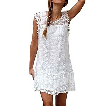 Fashion Women Casual Lace Sleeveless Beach Short Dress Tassel Mini Dress White
