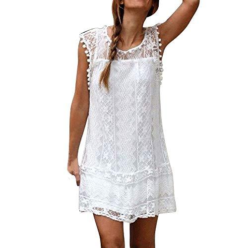 Women Casual Lace Dress Tassel Sleeveless Short Dresses Beach Mini Sundress Scalloped Hem Fitted Floral Bodycon Dress White