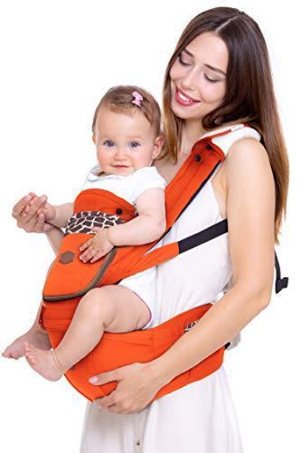 Sonbee Marsupio Neonati Ergonomico 7in1 - Porta Bimbo per Posizione ad M - Favorisce il Rapporto Madre-Figlio - Design Italiano - 0-36 Mesi / 3-20 Kg (arancione)