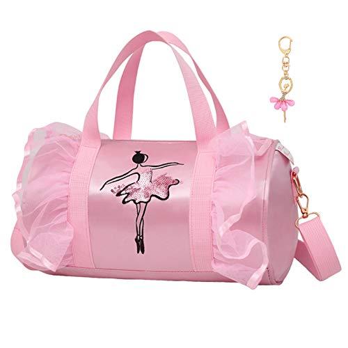 Dorlubel Cute Ballet Dance Bag Tutu Dress Bag with Key Chain for Girls (Pink2 of Long Mesh)