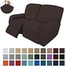 Easy-Going 6 Pieces Recliner Loveseat Stretch Sofa Slipcover Sofa Cover Furniture Protector Couch Soft with Elastic Bottom Kids, Spandex Jacquard Fabric Small Checks Chocolate