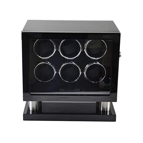 YZSHOUSE Watch Winder Cajas De Almacenamiento De Madera Doble Automático For 6 Relojes con Luz LED (Color : B)