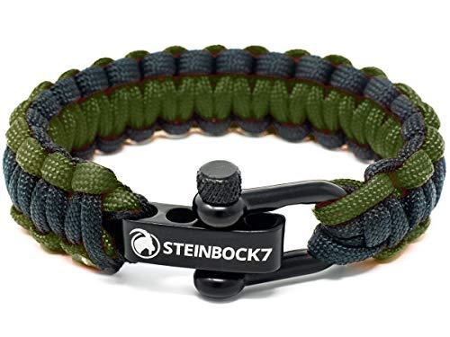 Steinbock7 Paracord Survival Armband, Grün-Schwarz - Glanz-Edelstahl Verschluss Einstellbar, Inklusive Anleitung zum Flechten