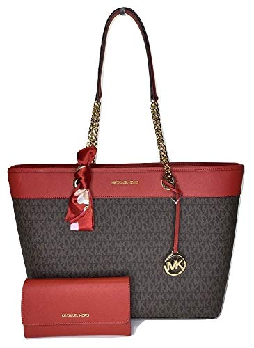 Bundle of 3 items: MICHAEL Michael Kors Shania Large EW Chain Tote bundled with matching Michael Kors Jet Set Travel Large Trifold Wallet and Couture du Jour Skinny Scarf Extra Large Saffiano Leather Tote, Top zip closure, Double top handles with cha...