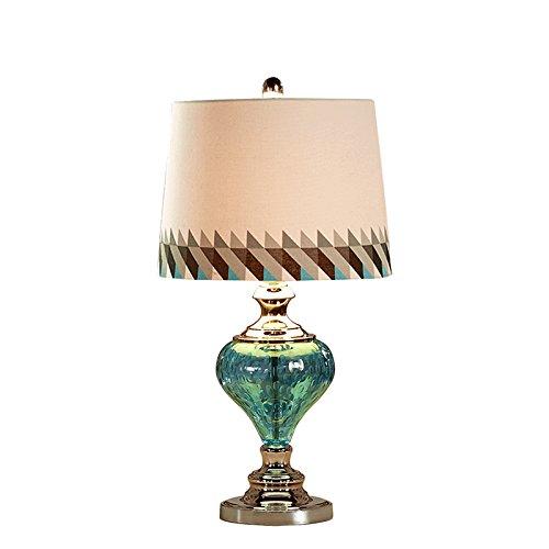 Lampe de chevet en verre bleu Lampe de chevet en laiton