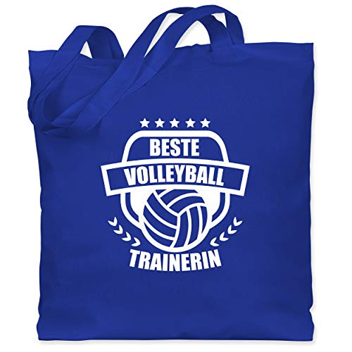 Shirtracer Volleyball - Beste Volleyball Trainerin - Unisize - Royalblau - Bester Volleyballtrainer - WM101 - Stoffbeutel aus Baumwolle Jutebeutel lange Henkel