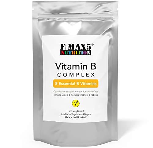 Vitamin B Complex 120 Tablets (4 Month Supply) - Contains All Eight B Vitamins in 1 Tablet, Vitamins B1, B2, B3, B5, B6, B12, Biotin & Folic Acid by Fmax5 Supplements