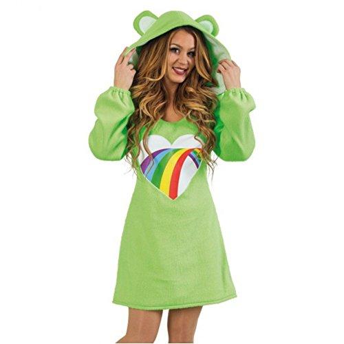 Damen Kostüm Bärli Kleid grün Bärchen Fasching Bär Spaßkostüm (L)