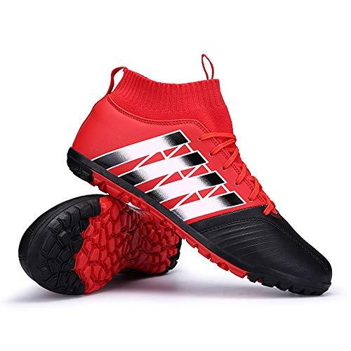 JJKK Männer athletische Hightop Klampen Fußball-Schuhe Fußball-Team-Rasen-Fußball-Schuhe Klampen Hightop Socken Ankle Pflegeleistung (Kleinkind/Kleinkind/Big Kid),Rot,43