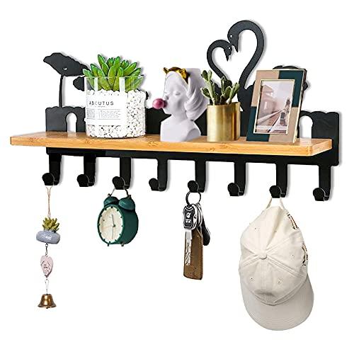 Llavero moderno de metal negro Swan Love organizador de llaves montado en la pared con tornillos y anclajes, 8 ganchos, para pasillo, puerta delantera, dormitorio, baño, oficina, 15 * 9 * 4 pulgadas
