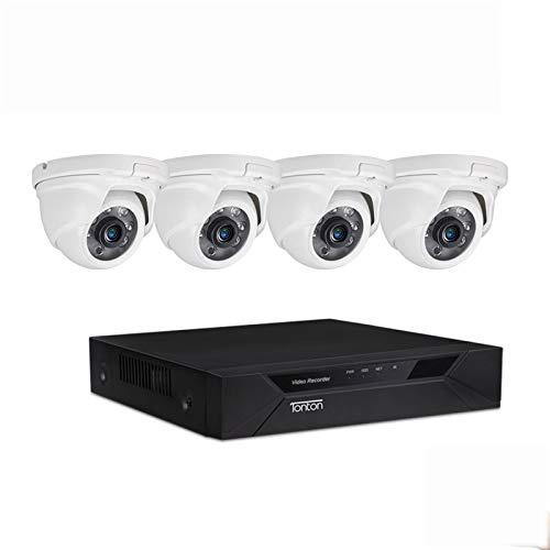 Tonton CCTV 8CH 1080N HD TVI DVR - Sistema de videovigilancia con 4 cámaras de vigilancia (1080P,sin Disco Duro,para Interior y Exterior, 20 m, visión Nocturna por Infrarrojos, Alarma de Movimiento)