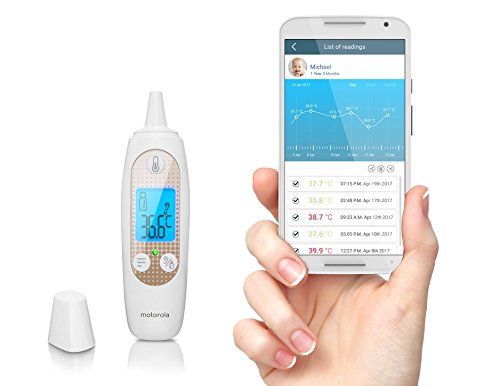 Motorola MBP69SN Smart In-Ear Thermometer with Temperature Tracking and Wi-Fi Hubble Smart Nursey App for Smartphones & Tablets
