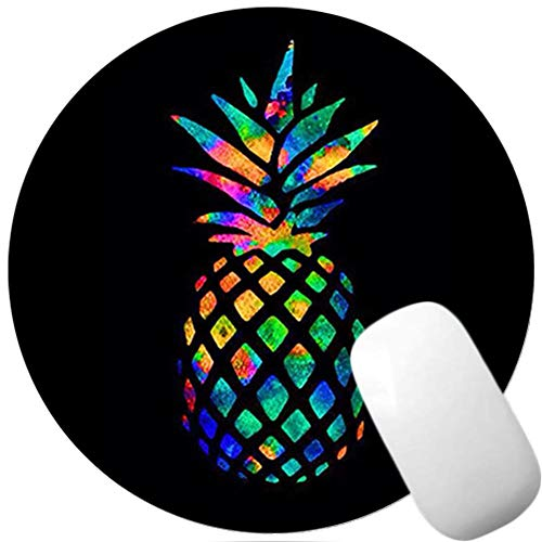 Black Pineapple Round Mouse Pad, Premium-Textured Non-Slip Rubber Base Mousepads, Mouse Mat with Delicate Stitched Edge for Gaming and Working