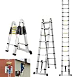 5M Multi-Purpose Aluminum Telescopic Ladder Portable Extendable A-Frame Ladder Heavy Duty Ladder - for Loft...