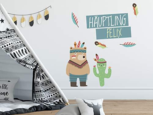 GRAZDesign Wandtattoo Indianer mit Namen - Wandbild über Bett - Wandsticker Wand Deko für Kuschelecke im Kinderzimmer Jungen / 100x57cm