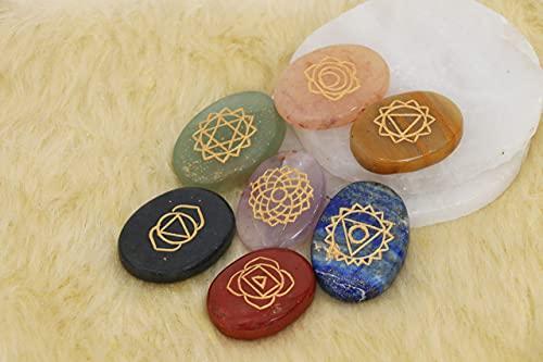 FASHIONZAADI 7 Chakra Karuna Reiki Stone Set with Sanskrit Power Symbol (Oval Shape) For Chakras Balancing Reiki Charged Gift Crystal