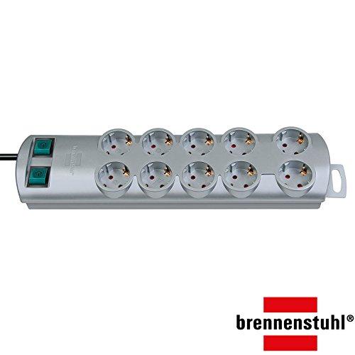 Brennenstuhl Primera-Line, Steckdosenleiste 10-fach (Steckerleiste mit 2 Schaltern für je 5 Steckdosen und 2m Kabel) Farbe: silber (1 Stück, Silber)