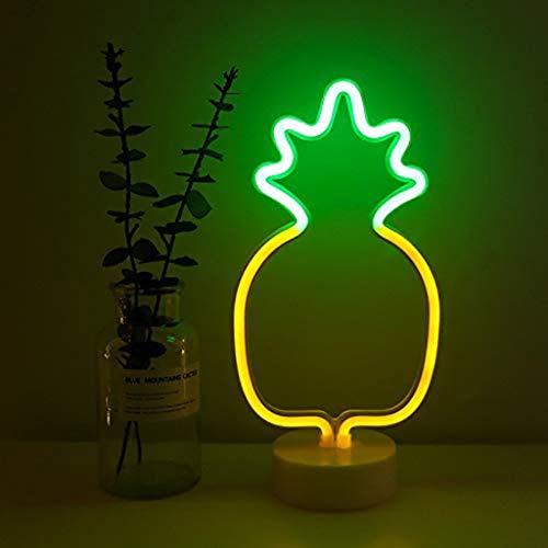 Letreros de Neón de Piña Arte LED Lámpara de la Novedad con Base USB o con Pilas Luces de Noche de Mesa para Dormitorio Accesorios de Casa Fiesta y Decoraciones Navideñas Regalos