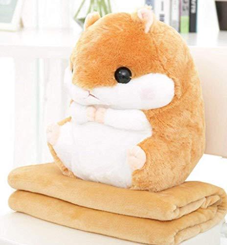 Hug mee 2 in 1 gefüllt Fat Hamster mit Plüsch Kissen und warm Bezug für Decke und Kinder hellbraun