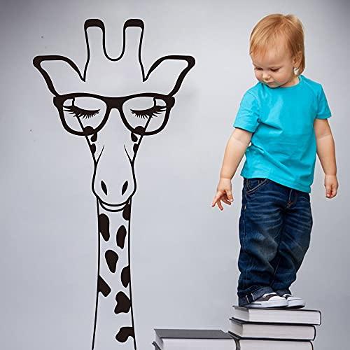 Cabeza de jirafa de dibujos animados con pestañas de vidrio Etiqueta Habitación de los niños Guardería Jirafa grande Animal africano Etiqueta Etiqueta A9 114x56cm