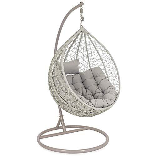 Poltrona a dondolo sospesa da giardino, struttura in ferro, diametro 108cm, altezza 198cm, cuscini ed imbottitura in poliestere (Grigia)
