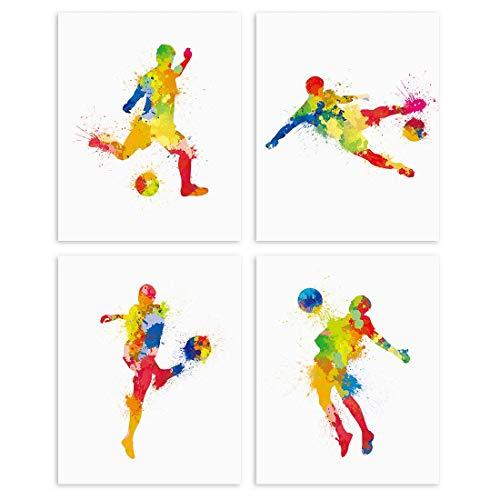 Aquarell Fußball Poster,Kinderzimmer Wandbilder,Fußball Bilder Set für Teenager Jungen Schlafzimmer,Sport Bild Leinwand Kunst Deko,Ohne Rahmen,20×25CM