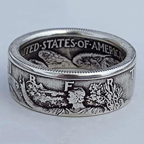 SXZHDZ Moneda Antigua Morgan Ring Estados Unidos de América Half Dollar 1945 Anillo de Dedo Joyas