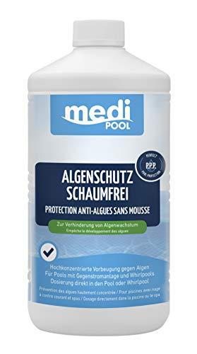 POWERHAUS24 Algenschutz schaumfrei - 1L - perfekt für Whirlpools und Pools mit Gegenstromanlagen Pflegefibel