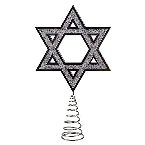 Kurt Adler 9.5' Silver Star of David Hanukkah Holiday Tree Topper