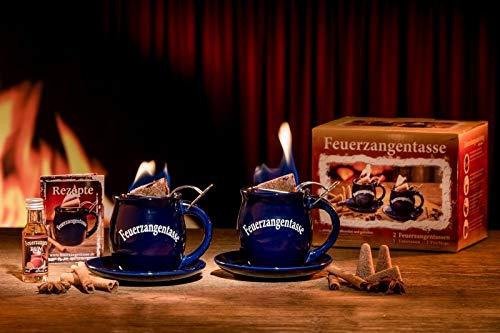 Feuerzangentasse 2er-Set, Blau (mit Rum) - für Feuerzangenbowle
