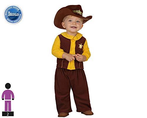 Atosa-23747 Cowboy Disfraz Vaquero, color marrón, 0 a 6 meses (23747)