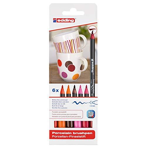 edding 4200 Porzellan Pinselstift (auch für Glas und Keramik). Warme Farbtöne mit 6 Stiften. Zum spülmaschinenfesten bemalen und beschriften von Geschirr, Tassen und Gläsern.