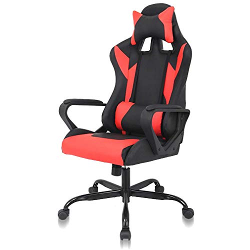 High Back Gaming Chair Ergonomic Racing Heavy Duty Office Chair Reclining Pc Video Game Chair, Lumbar Support with Arms & Headrest Nice Chic Desk Chair, Swivel Adjustable Best Home Office Chair - Red