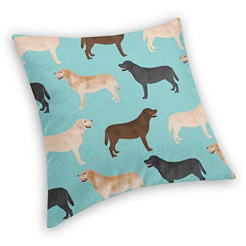 Ahdyr Throw Pillow Cute Labradors Yellow Chocolate Black Lab Mascotas Perros Estampado Terciopelo Suave Suelo Decorativo Cuadrado Fundas de Almohada Funda de cojín para sofá, Cama, Silla de Coche