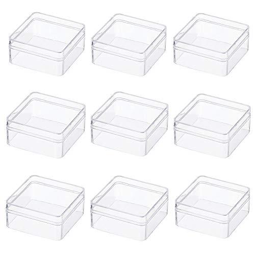 BENECREAT 10 Pack Cajita de Almacenamiento Contenedores de Plástico de Alta Transparencia 6x6x3cm para Artículos de Belleza, Cuentas Pequeñas, Hallazgos de Joyería y Otros Artículos Pequeños